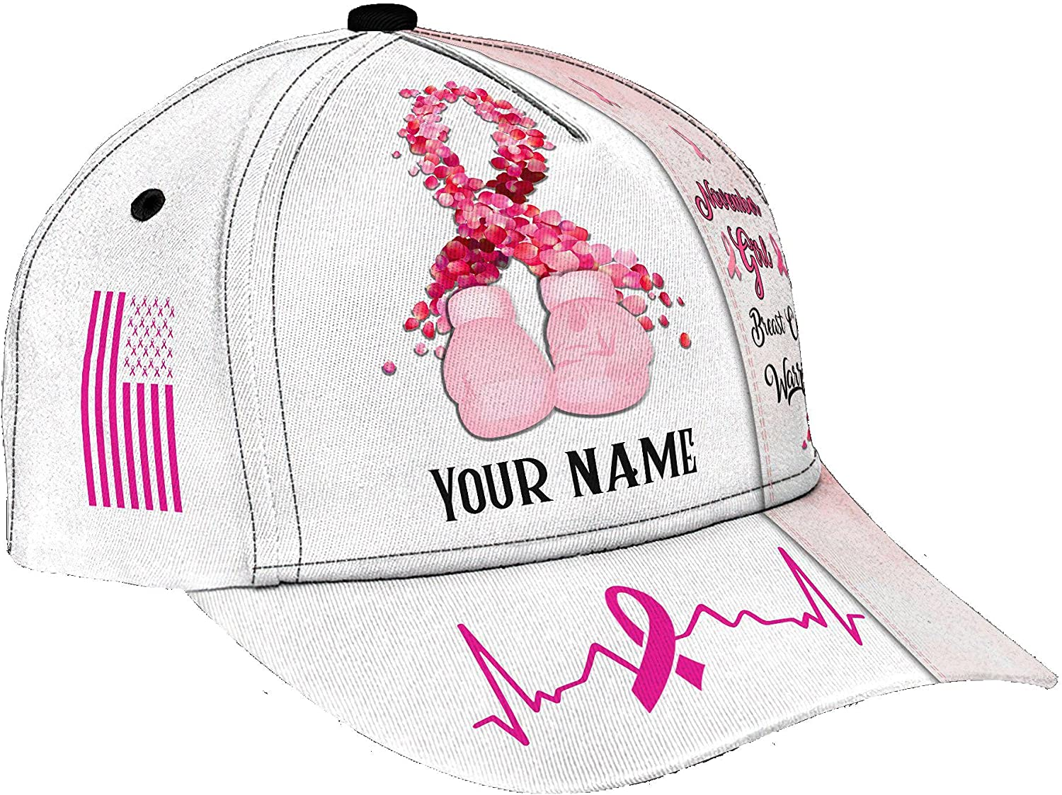 Personalized Name 3D Printed Unisex Cap Hat November Girl Breast Cancer Personalized Name Cap Text Name Customized Classic Cap Snapback Cap Baseball Cap for Men Women Sports Outdoor