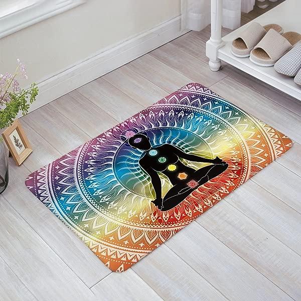 Yoga Doormats Asian Decor Rug Mat Meditation Aura Ornamental Motive Spiritual Design Print Indoor Outdoor