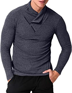 MODCHOK Men's Turtleneck Shirts Slim Fit Thermal Sweater Pullover Button Collar T Shirt Tops