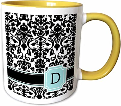 3dローズInspirationzStore Monograms–文字D個人モノグラムミントブルーブラックandホワイトダマスクパターン–Classy Personalized初期–マグカップ 11-oz Two-Tone Yellow Mug mug_154353_8