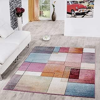 T&T Design Alfombra De Cuadros Multicolor De Pelo Corto Modelo De Diseño Al Mejor Precio, Größe:200x280 cm