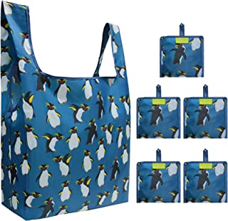 Blue Grocery Bags Reusable Foldable 5 Pack Large Capacity Can Hold 50Lbs Cute Penguin Pattern Reusable Tote Bags Easily Folding into Attached Pouch, Animal Reusable Bags for Shopping, Groceries, Trip