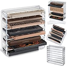 byAlegory Acrylic Medium Eyeshadow Palette Makeup Organizer W/Removable Dividers Designed To Stand & Lay Flat   8 Space Organization Container Storage - Fits Standard Size Palettes - Clear