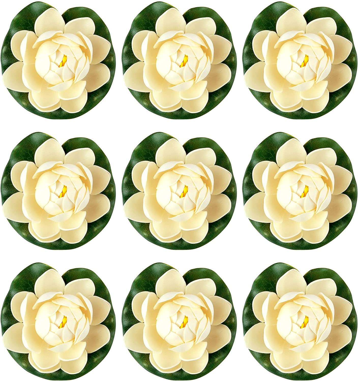 RONRONS 9 Pack Artificial Floating In stock Water Import with Foam Lotus Flowers