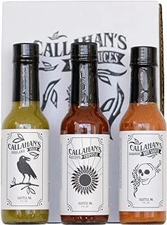 Callahan's 5 oz Gourmet Hot Sauce Gift Set - Habanero, Poblano, Black Pepper Chipotle