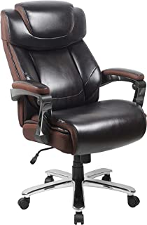 Flash Furniture Big & Tall Office Chair | Brown LeatherSoft Executive Swivel Office Chair with Headrest and Wheels