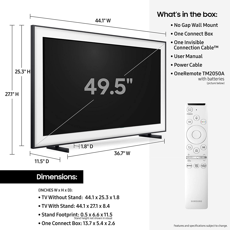 Samsung 50-inch Class FRAME QLED LS03 Series 4K UHD  Dual LED Quantum HDR Smart TV with Alexa Built-in QN50LS03TAFXZA, 2020 Model