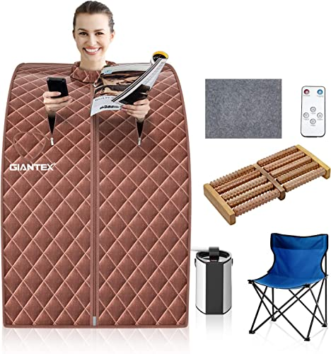 2021 Giantex Portable Sauna 3L Personal Therapeutic Sauna Temperature & Timer Adjustable W/Chair,Massage Roller,Mat,Steel Steamer for Weight discount Loss, Detox, Relaxation at Home sale 800W Sauna Spa(Coffee) outlet sale