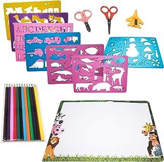 Set de Plantillas de Dibujos - Paquete de 15 - Incluye variedad de Formas, Papel