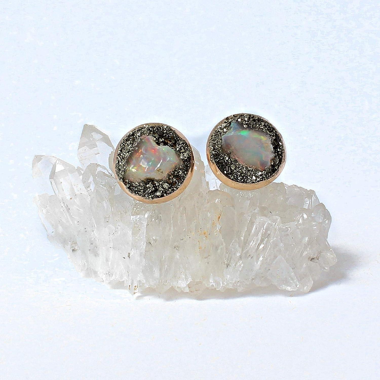 free shipping Raw Australian Portland Mall Opal Birthstone Earrings Stud