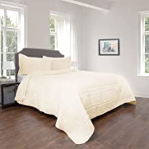 Quilt and Sham Set- Hypoallergenic 3 Piece Oversized Full/Queen Quilt Bed Set with Striped Ruffle Design- Kadyn Series by Bedford Home (Ivory)