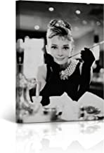 Buy4Wall Audrey Hepburn Wall Art Canvas Print Breakfast at Tiffany`s Picture on The Table Vintage Home Decor Framed Artwork - Ready to Hang -%100 Handmade in The USA - 12x8