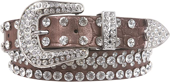 27 mm Kids 1 1//16 Western Cowgirl Rhinestone Studded Skinny Belt
