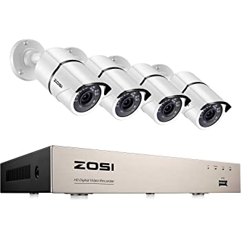 ZOSI 8CH 1080P Security Camera System,H.265+ 5MP Lite 8Channel HD-TVI DVR and 4PCS 1920TVL Outdoor Indoor Weatherproof CCTV Surveillance Camera with 120ft Night Vision, Motion Alert,No Hard Drive