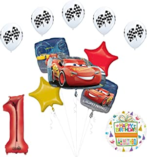 Mayflower Products Disney Cars 3 Lightning McQueen 1st Birthday Party Supplies Balloon Decorations