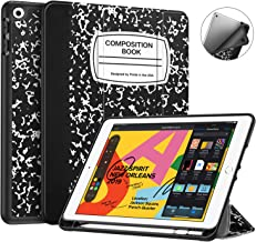 """Fintie SlimShell Case for New iPad 7th Generation 10.2 Inch 2019 w/Built-in Pencil Holder - Lightweight Smart Stand Soft TPU Back Cover, Auto Wake/Sleep for iPad 10.2"""" Tablet, Composition Book Black"""