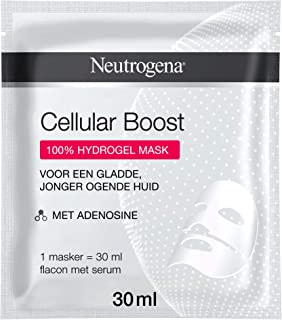 Neutrogena Cellular Boost Hydrogel Mask, Hydrogel masker met adenosine en 100% hydrogel voor een gladde, jonger uitziende ...