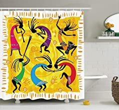 Ambesonne Kokopelli Decor Collection, Dancing Playing Musical Instruments Figures on Tribal Style Patterns Artwork, Polyester Fabric Bathroom Shower Curtain, 75 Inches Long, Yellow Black Purple