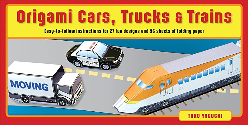 Origami Cars, Trucks & Trains Kit: Kit Includes 2 Origami Books, 27 Fun Projects and 96 High-Quality Origami Papers: Great for Both Kids and Adults