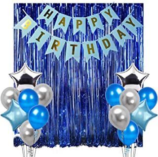 Party Propz 17Pcs Happy Birthday Decoration Combo for Birthday Decoration for Boys, Blue Birthday Decoration, Party Supplies