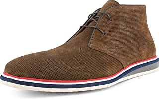 AG4022 - Mens Chukka Boots, Genuine Cow Suede - Chukka Boot with Perforations and Tri-Color Heel – Designer Boots - Casual Men Shoes