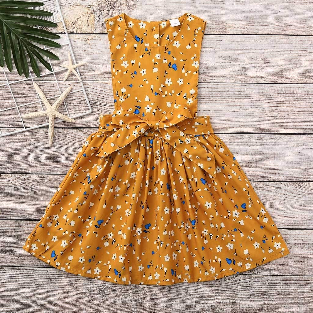 Toddler Infant Sleeveless Dress One Piece Dresses Party Casual Bow Floral Print Dress Clothes Memela