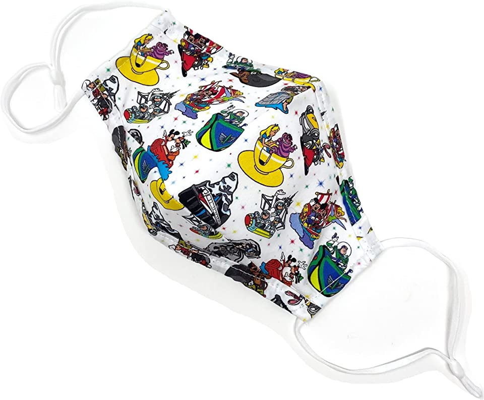 Dis-ney Rides ADULT Face Mask w/Nose Wire Clip & Filter Pocket - Triple Layer Cotton - Maskara by BengC