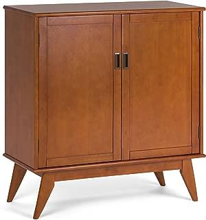 Simpli Home 3AXCDRP-06-TK Draper Solid Hardwood 39 inch wide Mid Century Modern Medium Storage Cabinet in Teak Brown