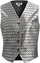 Edwards Garment Women's Black Buttons Placket V Neck Lining Swirl Brocade Vest