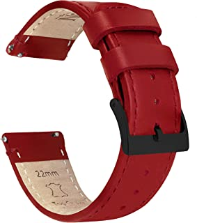 20mm Crimson Red - BARTON Watch Bands - Quick Release Leather Black Buckle Watch