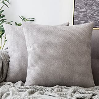 MIULEE Pack of 2 Decorative Plaids Woven Pillow Cover Checked Soft Solid Square Weave Throw Pillow Sham Home Decor Design Cushion Case for Sofa Bedroom Car 18x18Inch 45x45 cm Cloud Grey