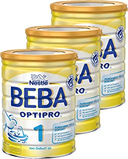 Nestlé BEBA雀巢贝巴 OPTIPRO 1段初始婴儿奶粉 适合新生儿 3罐装 (3 x 800 g)(不含助溶剂,冲泡需用力摇,冲后有结晶非品质问题,请放心食用)