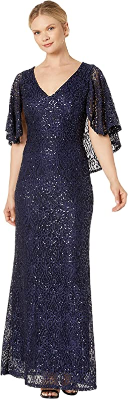 a75f1886 New. Navy. 10. MARINA. Sequin Stretch Lace V-Neck Gown with Cape
