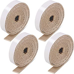 1/2 x 60 Inch Felt Strips with Adhesive Backing Self-Stick Heavy Duty Felt Tapes Polyester Felt Strip Rolls for Protecting Furniture and Freedom DIY Adhesive (Beige,4 Rolls)