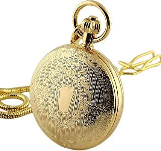 Men's Vintage Gold Tone All Copper Steampunk Skeleton Mechanical Pocket Watch with Chain CH371