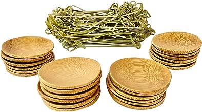 24 Mini Disposable Bamboo Appetizer Plates plus 100 Bamboo Fancy Toothpicks. Biodegradable Appetizer Plates and Bamboo Toothpicks Set for Dinner Parties, Breakfast Bar, Food Tastings, Finger Food.