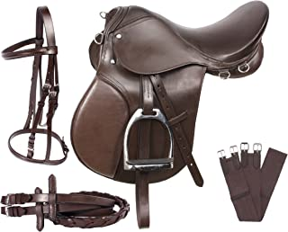 BROWN EVENTING ALL PURPOSE SHOW JUMPING LEATHER HORSE SADDLE ENGLISH TACK STARTER SET 15