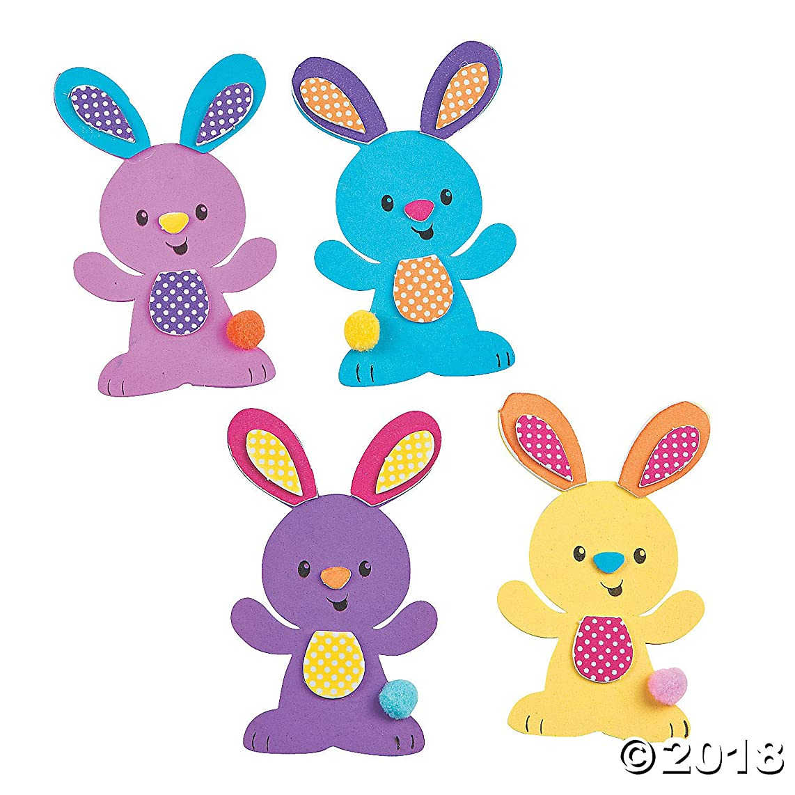 Easter Bunny Magnet Foam Craft Kit ~ Makes 12 Magnets ~ Approx. 3