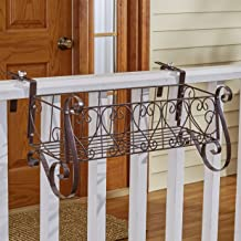 Decorative Iron Scrollwork Porch Rail Planter for Flowers, Herbs - Large