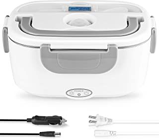 Electric Lunch Box 2 in 1, Electric Lunch Box Food Heater Car and Home Use Portable Lunch Heater 110V & 12V 40W - Stainles...