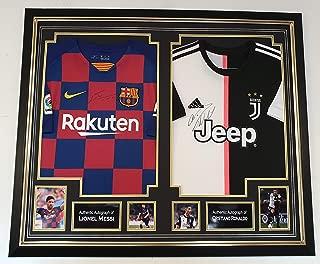 WWW.SIGNEDMEMORABILIASHOP.CO.UK Lionel Messi and Cristiano Ronaldo Signed Shirt Autographed Jerseys