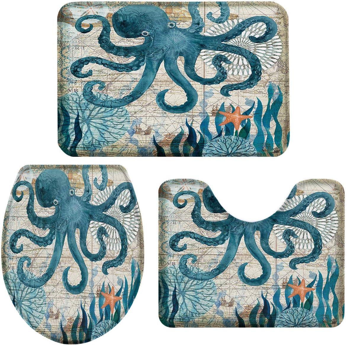 3-Piece Bath Rug and Minneapolis Mall Mat Sets Non-Slip B Sea Watercolor Genuine Octopus