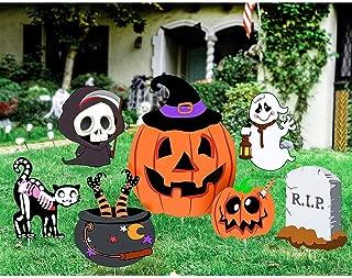 Unomor Halloween Decorations for Outdoor Yard Garden, Ghost Pumpkin Skeleton Yard Stake Signs – 7 Pack