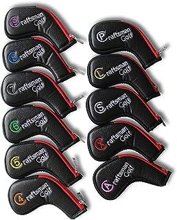 CRAFTSMAN(クラフトマン)ゴルフアイアンカバー ヘッドカバー ロングネック ファスナー開閉 11枚入り(4~9、P、A、S、L、X)カラフル数字番号刺繍 合成レザー製 ブラック レッド
