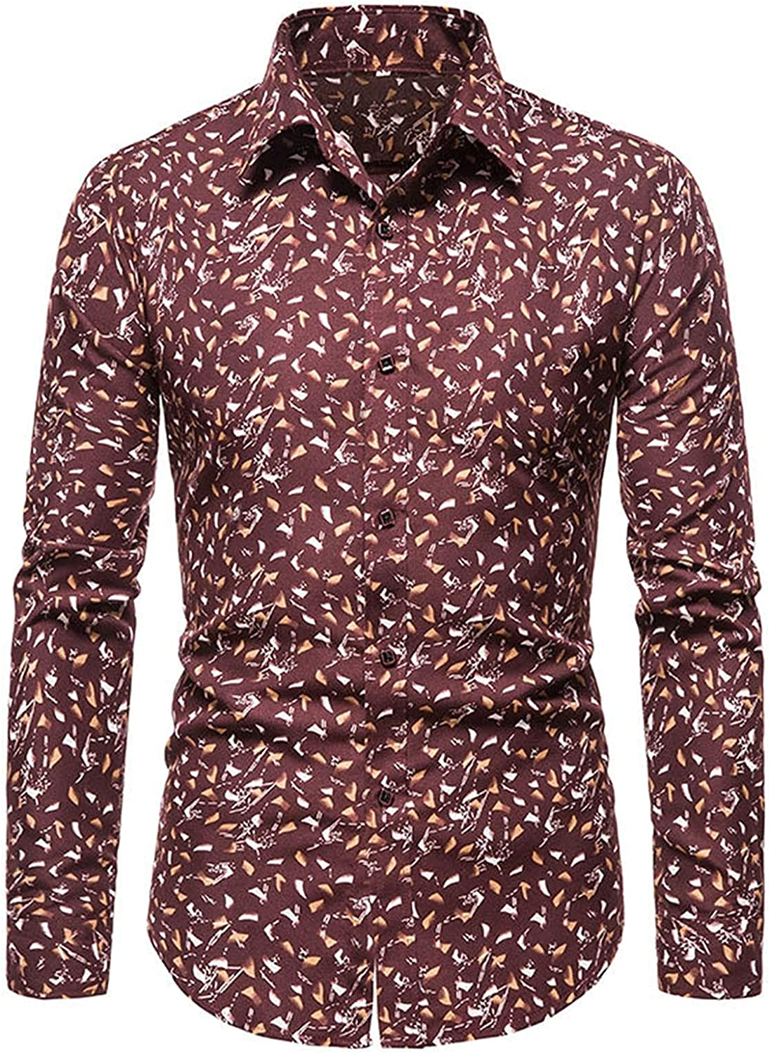 Mens Floral Printed Button Down Business Dress Shirts Casual Slim Fit Long Sleeve Collar Wedding Party Work Shirt Tops