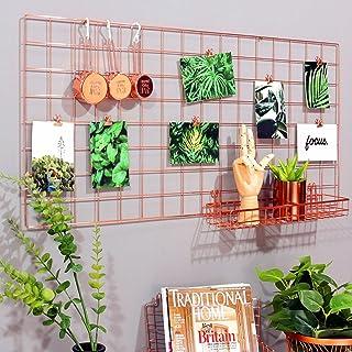 Estantería Rumcent, diseño de rejilla, color oro rosa, decoración de la pared para colgar fotos y organizador(45x 95cm)