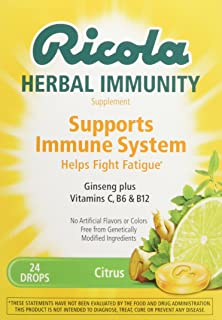 Ricola Herb Immunity Drops Citrus, 24 Drops, Support Your Immune System, Immunity Gummies Include Ginseng, Vitamins C, B6, B12, Swiss Herbs, No Artificial Flavors or Colors
