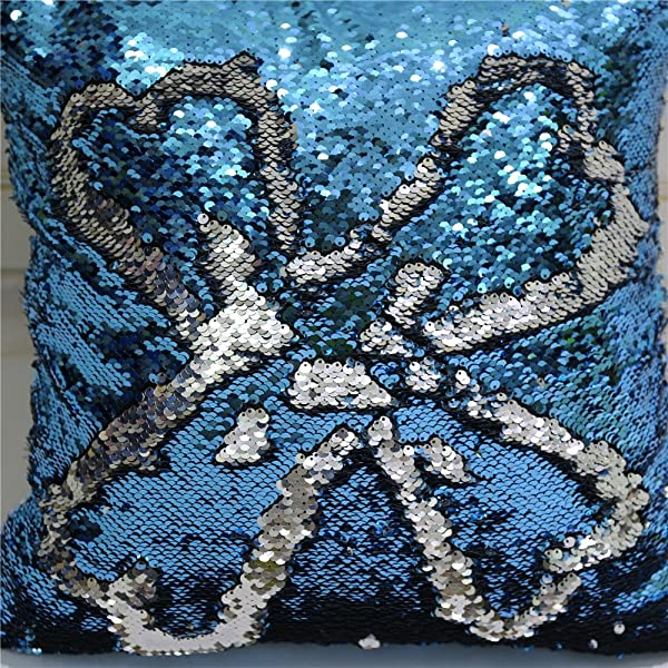 TRLYC Custom Color Reversible Mermaid Sequin Pillow Designer Handmade Cushion Covers Turquoise And Silver 16 X 16 Inch 40x40cm