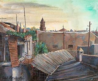 Tempesta Sul Tetto Dipinto Originale Fatto A Mano