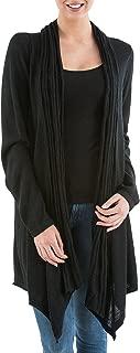 Black 10% Alpaca Wool Long Sleeves Cardigan Sweater, Waterfall Dream'